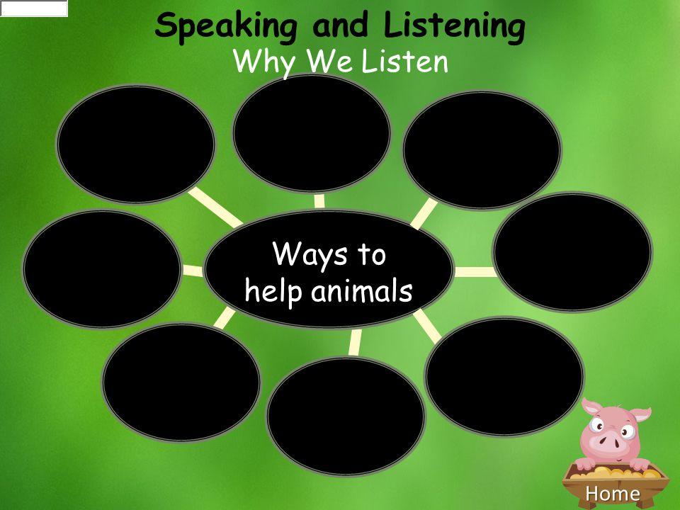 Home Ways to help animals Speaking and Listening Why We Listen