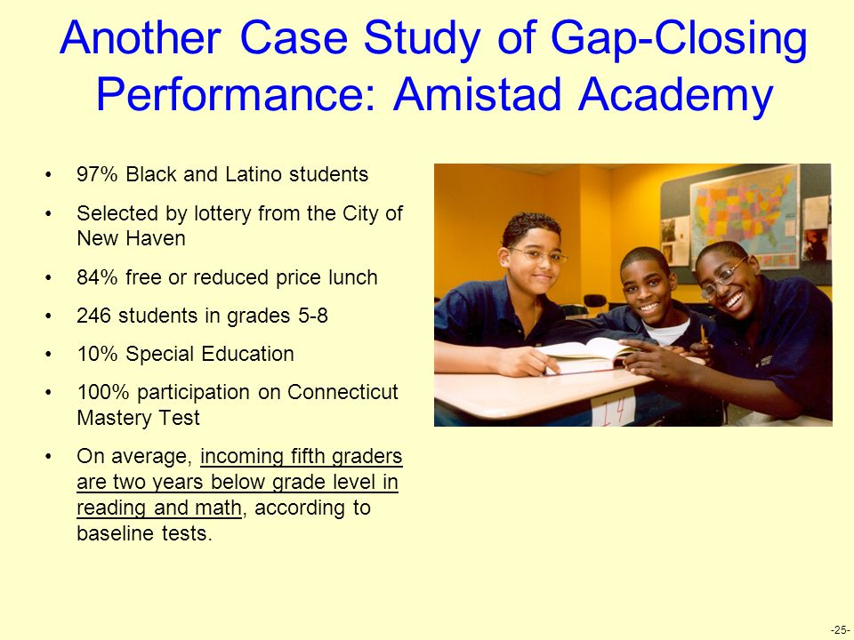 -25- Another Case Study of Gap-Closing Performance: Amistad Academy 97% Black and Latino students Selected by lottery from the City of New Haven 84% free or reduced price lunch 246 students in grades 5-8 10% Special Education 100% participation on Connecticut Mastery Test On average, incoming fifth graders are two years below grade level in reading and math, according to baseline tests.