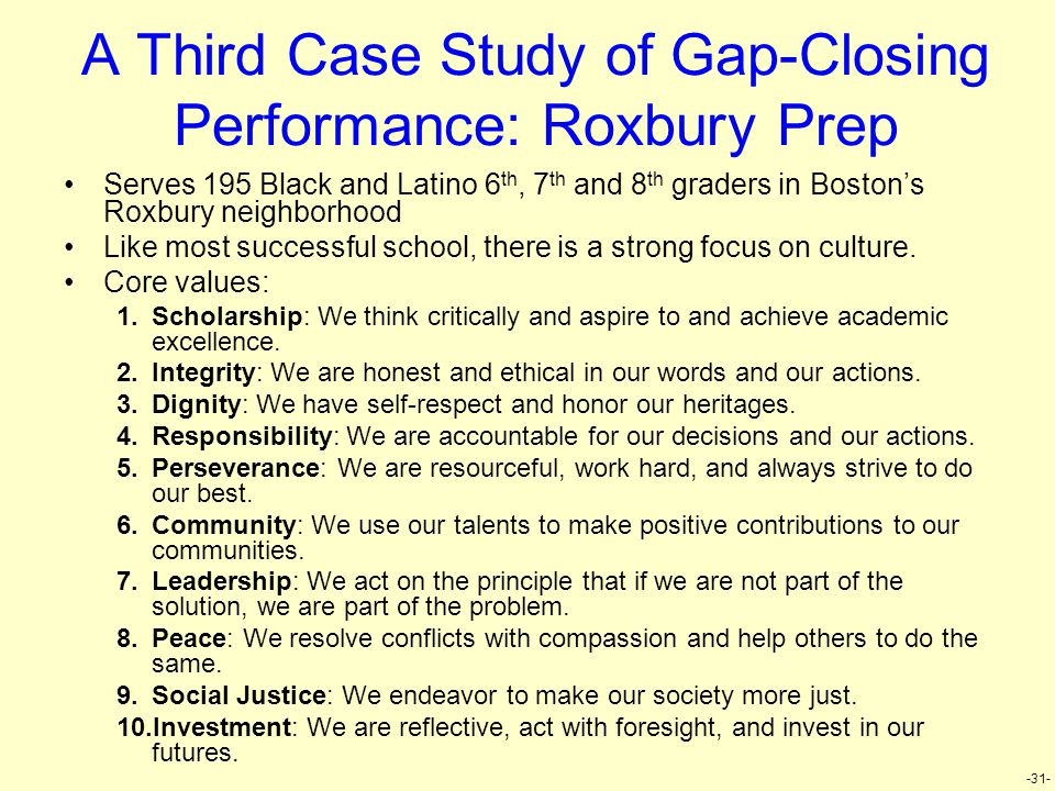 -31- A Third Case Study of Gap-Closing Performance: Roxbury Prep Serves 195 Black and Latino 6 th, 7 th and 8 th graders in Boston's Roxbury neighborh