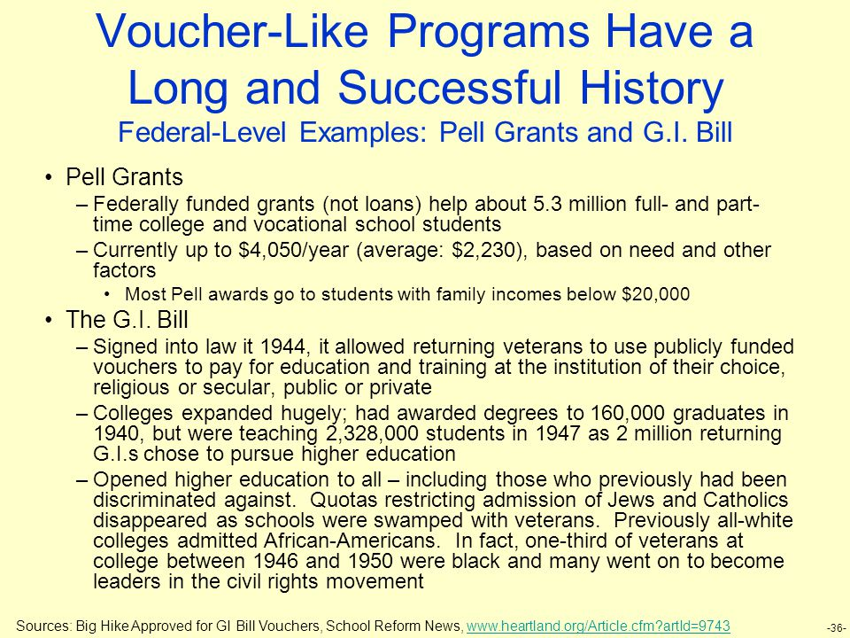 -36- Voucher-Like Programs Have a Long and Successful History Federal-Level Examples: Pell Grants and G.I.