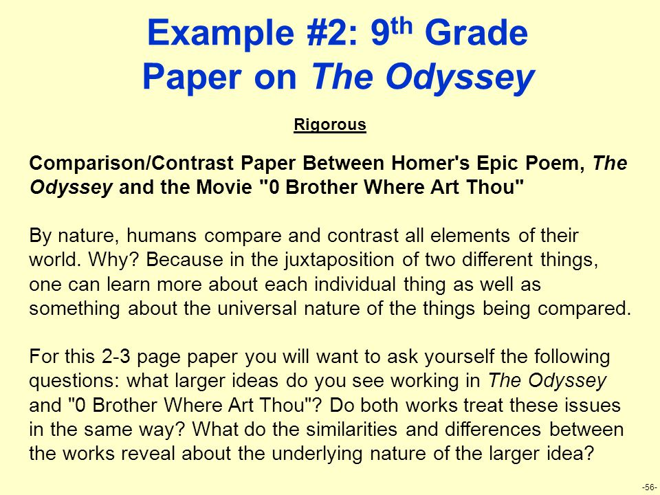 -56- Example #2: 9 th Grade Paper on The Odyssey Comparison/Contrast Paper Between Homer s Epic Poem, The Odyssey and the Movie 0 Brother Where Art Thou By nature, humans compare and contrast all elements of their world.