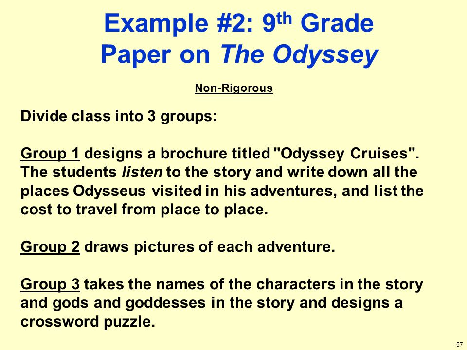 -57- Example #2: 9 th Grade Paper on The Odyssey Divide class into 3 groups: Group 1 designs a brochure titled