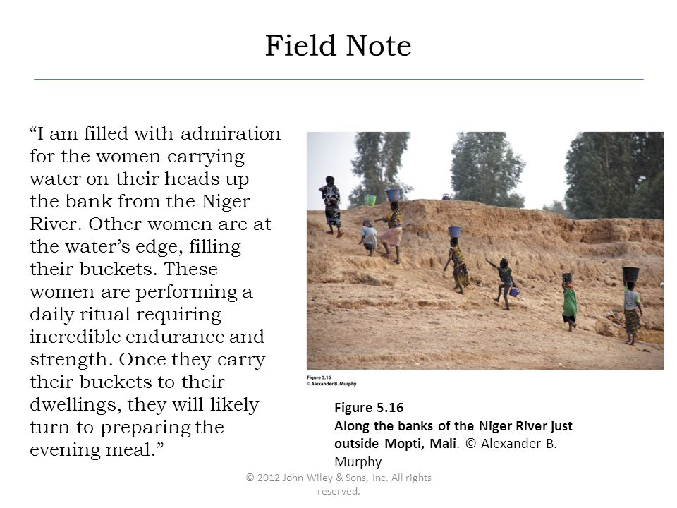 "Field Note ""I am filled with admiration for the women carrying water on their heads up the bank from the Niger River. Other women are at the water's e"