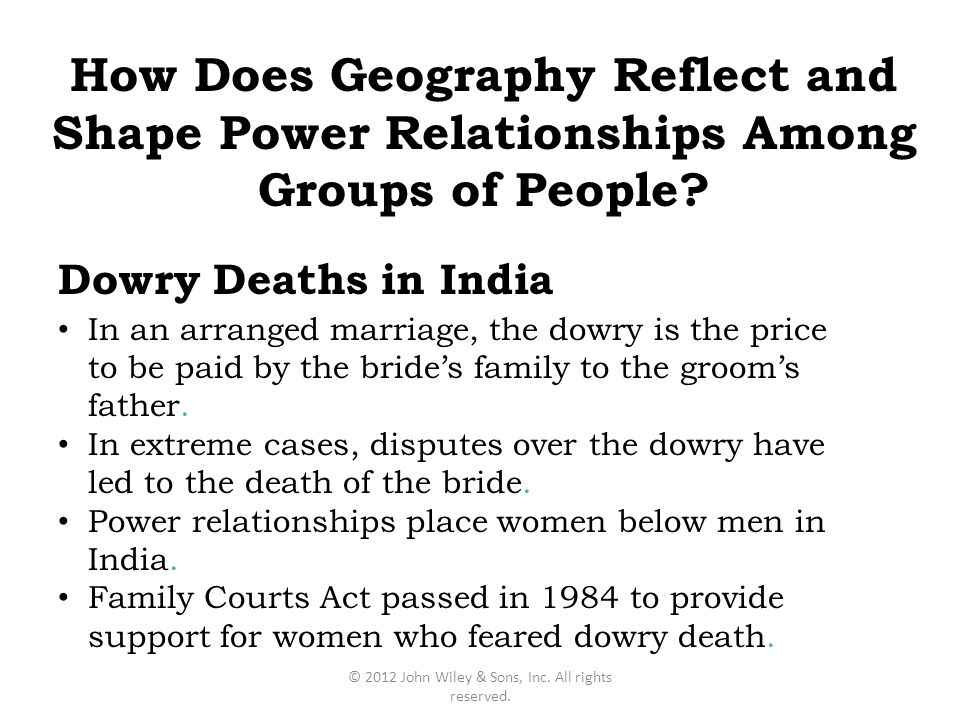 Dowry Deaths in India In an arranged marriage, the dowry is the price to be paid by the bride's family to the groom's father. In extreme cases, disput