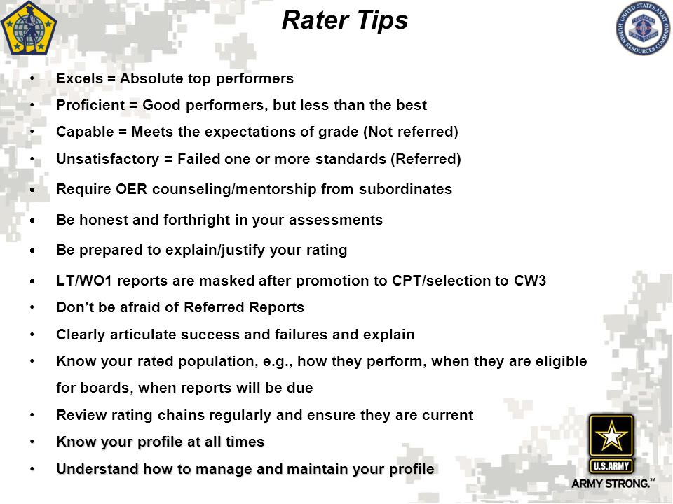 Excels = Absolute top performers Proficient = Good performers, but less than the best Capable = Meets the expectations of grade (Not referred) Unsatis