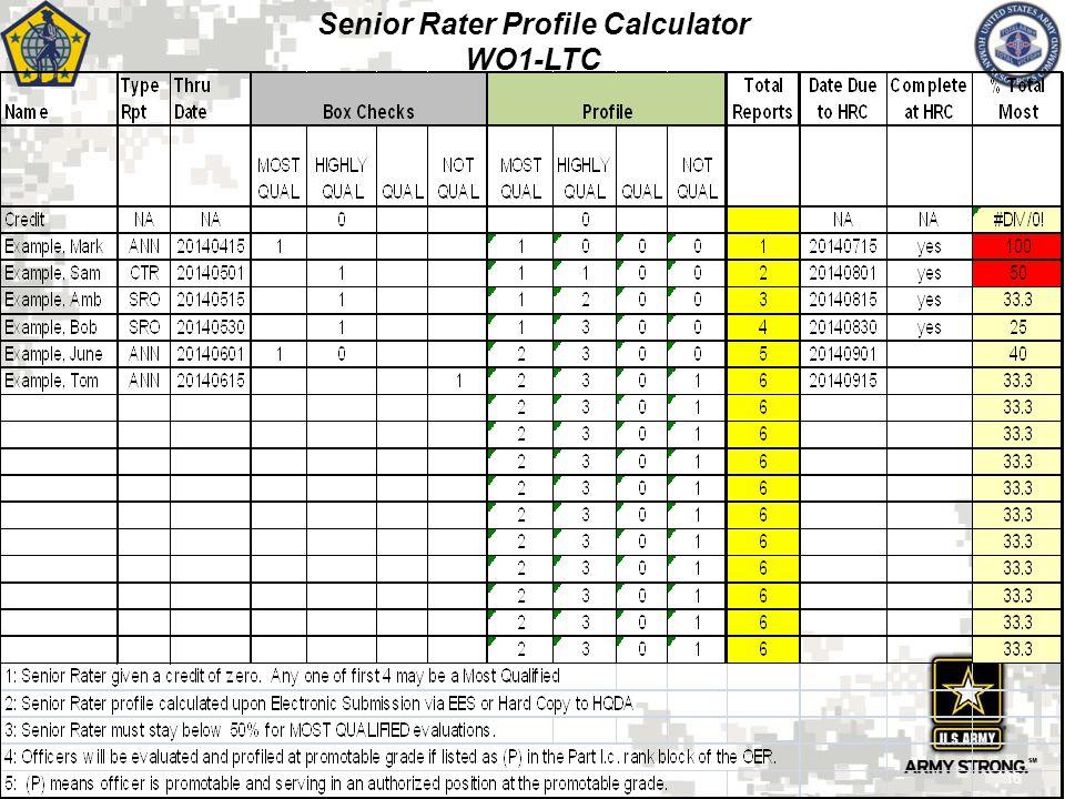 Senior Rater Profile Calculator WO1-LTC 16