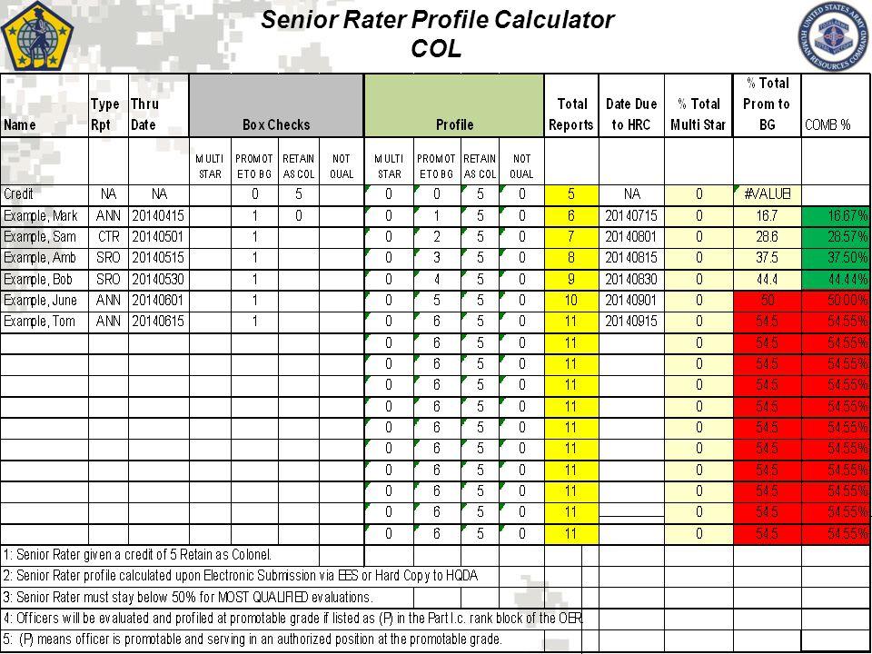 Senior Rater Profile Calculator COL 16