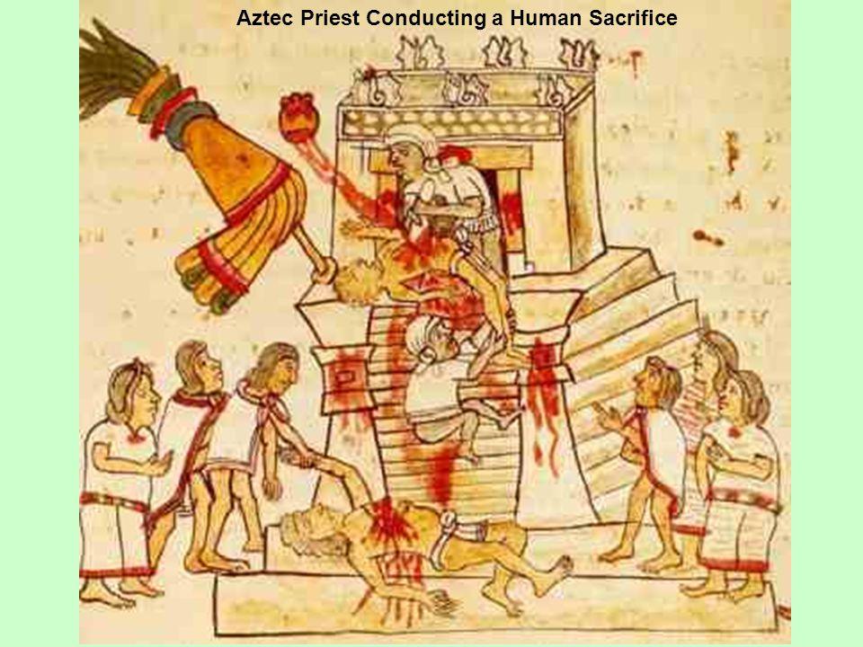 Aztec Priest Conducting a Human Sacrifice