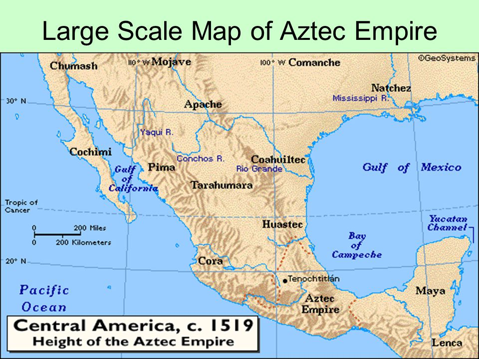 Large Scale Map of Aztec Empire