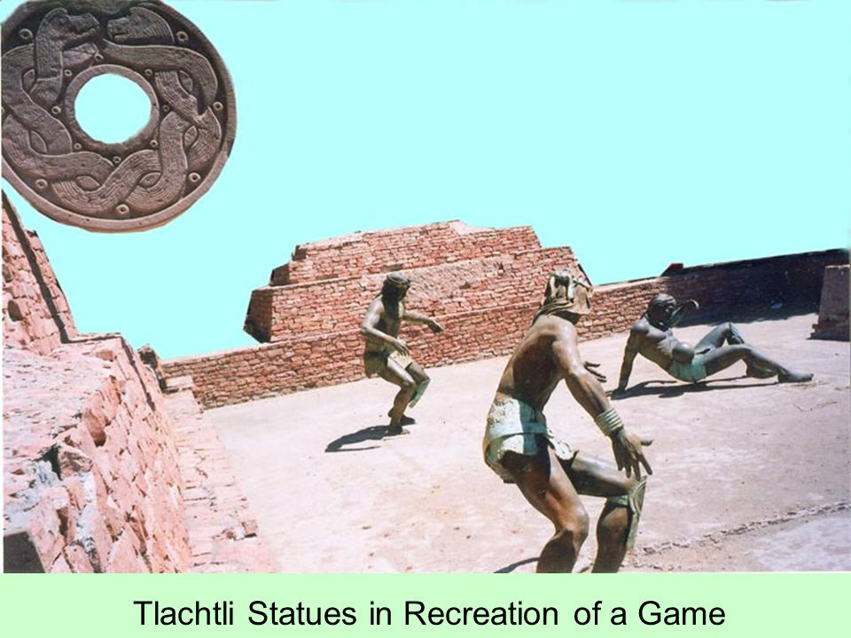 Tlachtli Statues in Recreation of a Game