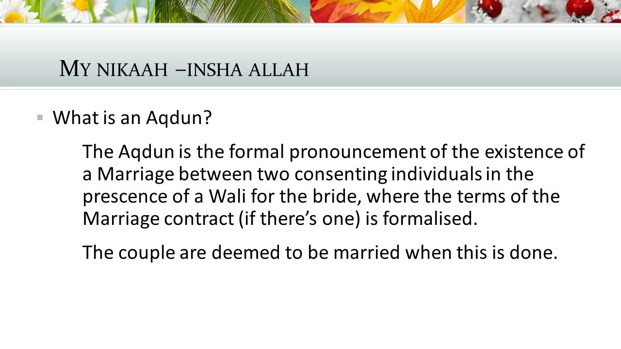 M Y NIKAAH – INSHA ALLAH  The Mahr Mahr is a mandatory gift given by the groom to the bride.
