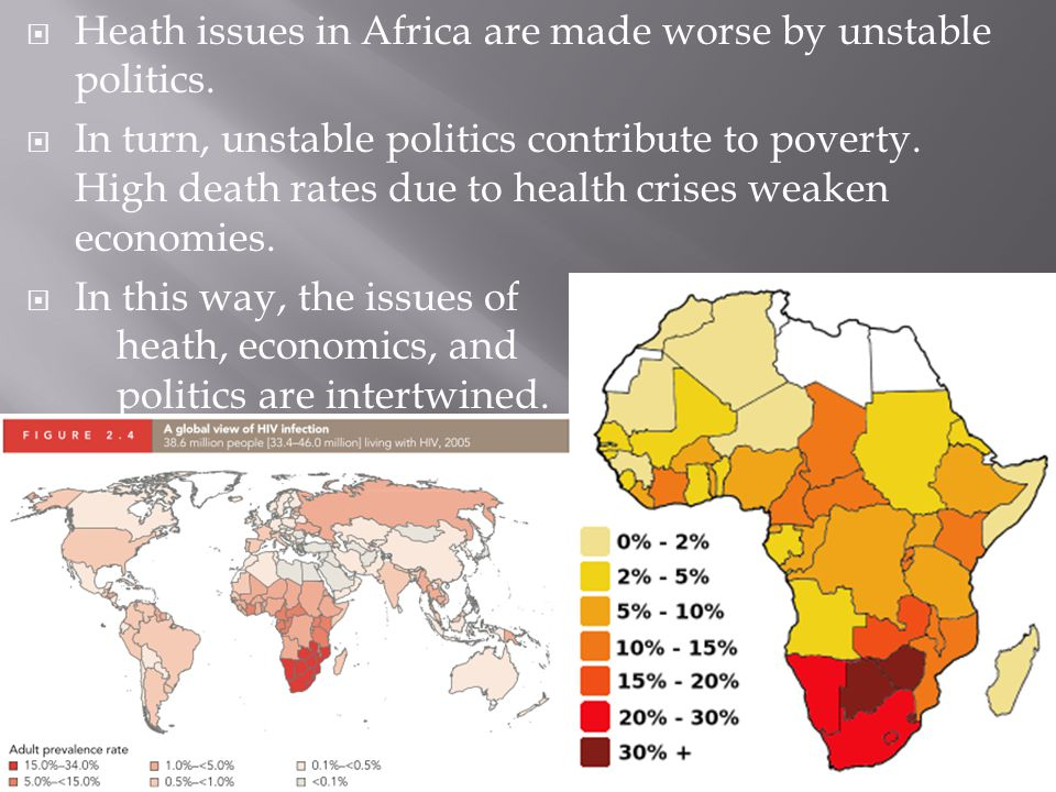  Heath issues in Africa are made worse by unstable politics.