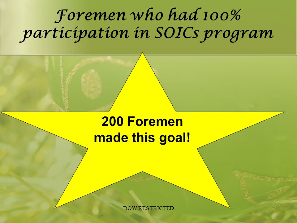 Foremen who had 100% participation in SOICs program DOW RESTRICTED 200 Foremen made this goal!