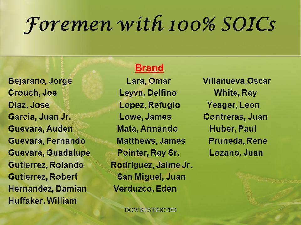 Foremen with 100% SOICs Brand Bejarano, Jorge Lara, Omar Villanueva,Oscar Crouch, Joe Leyva, Delfino White, Ray Diaz, Jose Lopez, Refugio Yeager, Leon