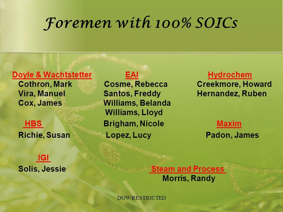 Foremen with 100% SOICs Doyle & Wachtstetter EAI Hydrochem Cothron, Mark Cosme, Rebecca Creekmore, Howard Vira, Manuel Santos, Freddy Hernandez, Ruben