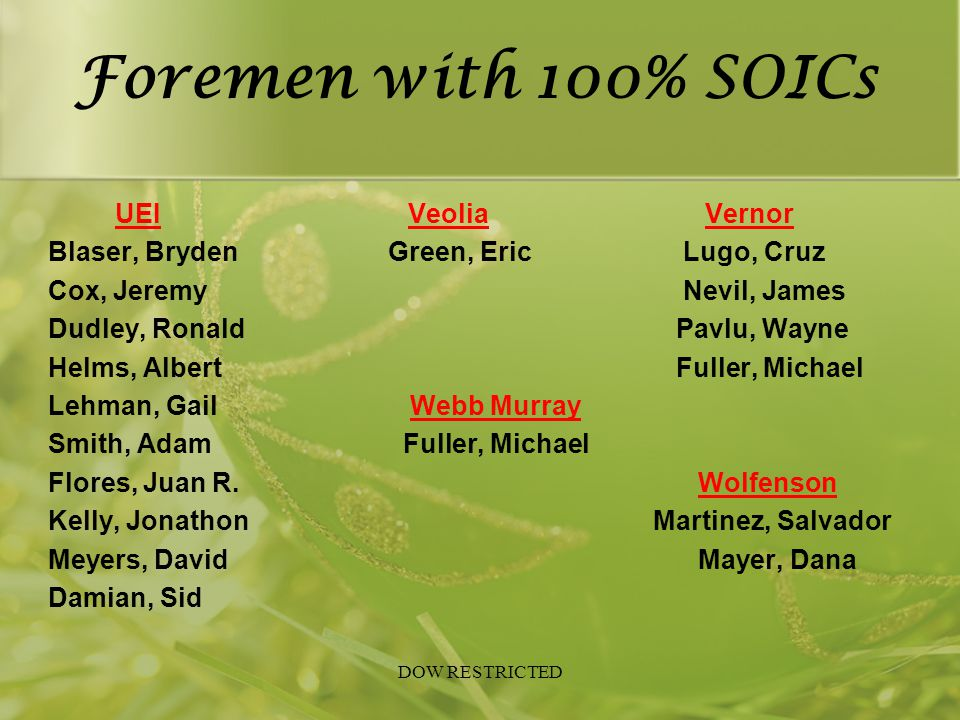 Foremen with 100% SOICs UEI Veolia Vernor Blaser, Bryden Green, Eric Lugo, Cruz Cox, Jeremy Nevil, James Dudley, Ronald Pavlu, Wayne Helms, Albert Ful