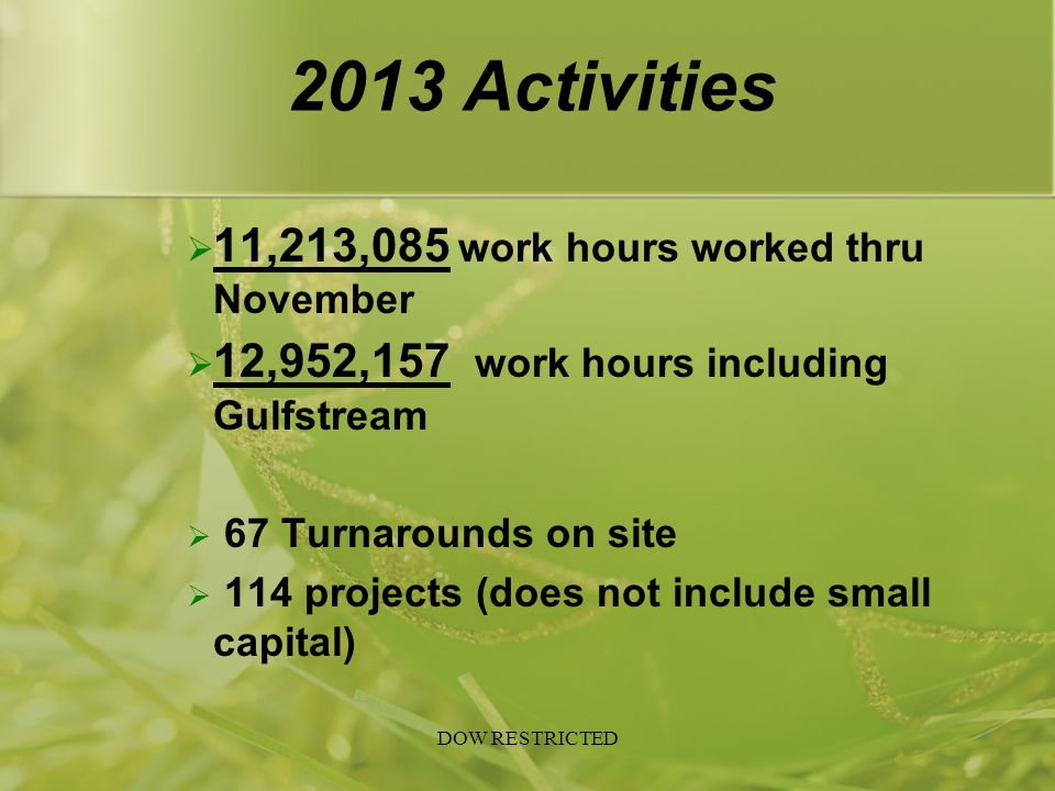 2013 Activities  11,213,085 work hours worked thru November  12,952,157 work hours including Gulfstream  67 Turnarounds on site  114 projects (doe