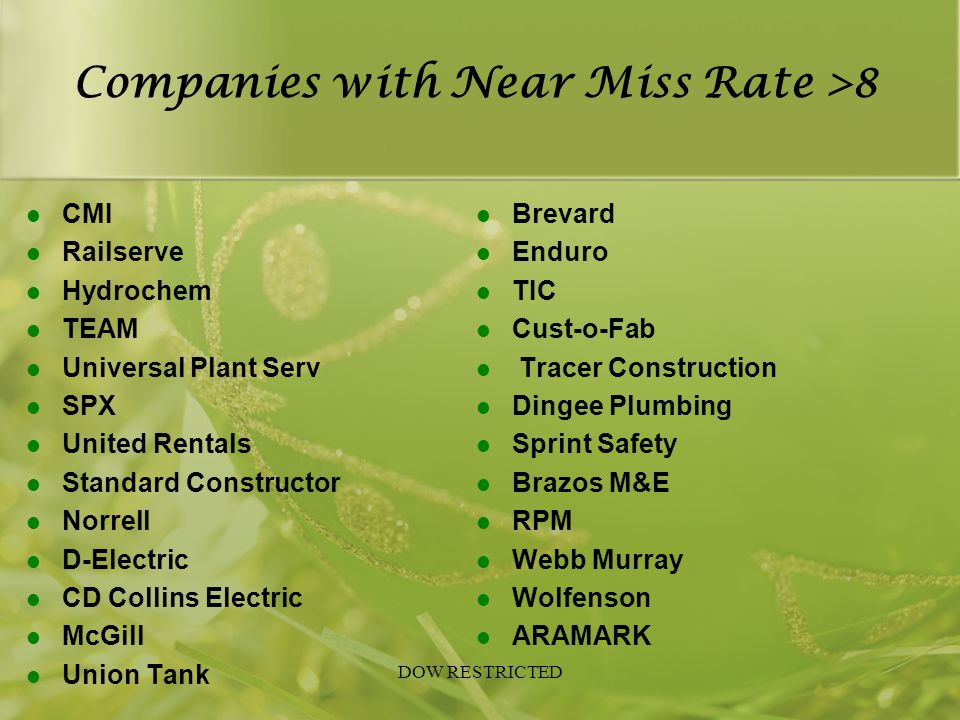 Companies with Near Miss Rate >8 CMI Railserve Hydrochem TEAM Universal Plant Serv SPX United Rentals Standard Constructor Norrell D-Electric CD Colli