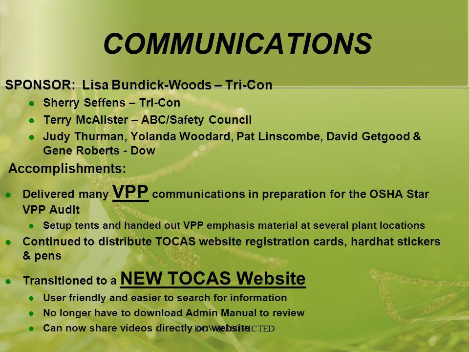 COMMUNICATIONS SPONSOR: Lisa Bundick-Woods – Tri-Con Sherry Seffens – Tri-Con Terry McAlister – ABC/Safety Council Judy Thurman, Yolanda Woodard, Pat