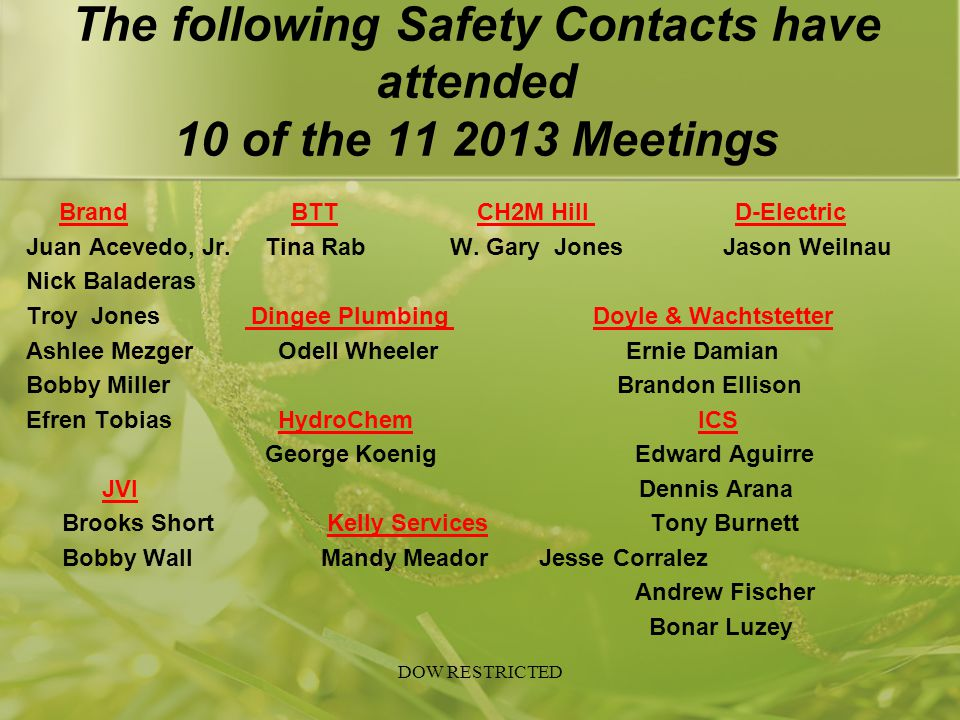 The following Safety Contacts have attended 10 of the 11 2013 Meetings Brand BTT CH2M Hill D-Electric Juan Acevedo, Jr. Tina Rab W. Gary Jones Jason W