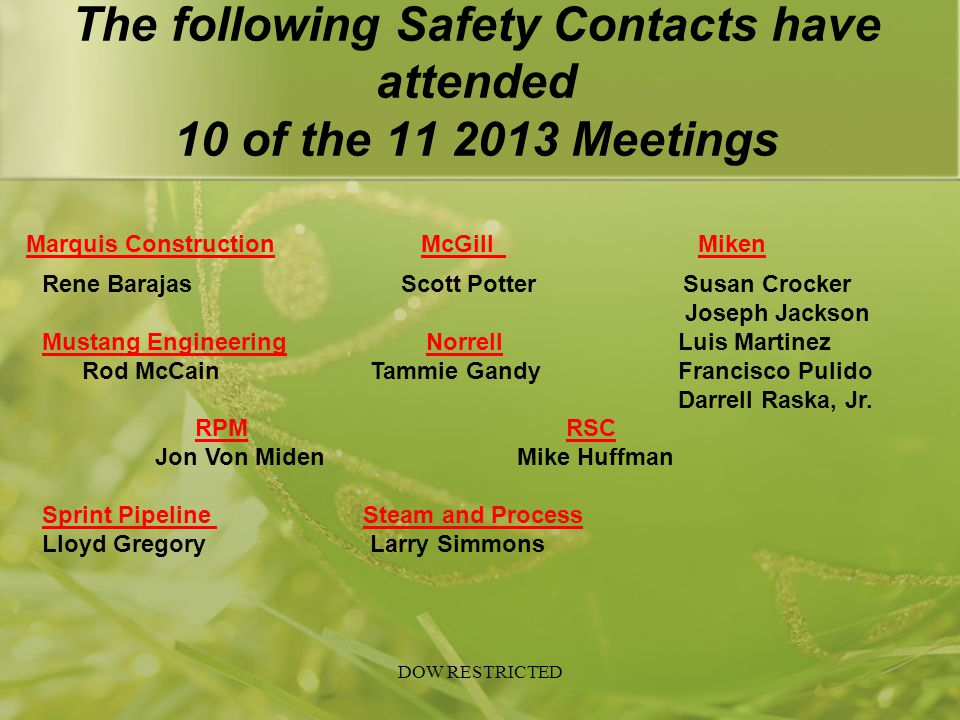 The following Safety Contacts have attended 10 of the 11 2013 Meetings Marquis Construction McGillMiken Rene Barajas Scott Potter Susan Crocker Joseph