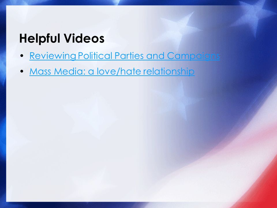 Helpful Videos Reviewing Political Parties and Campaigns Mass Media: a love/hate relationship