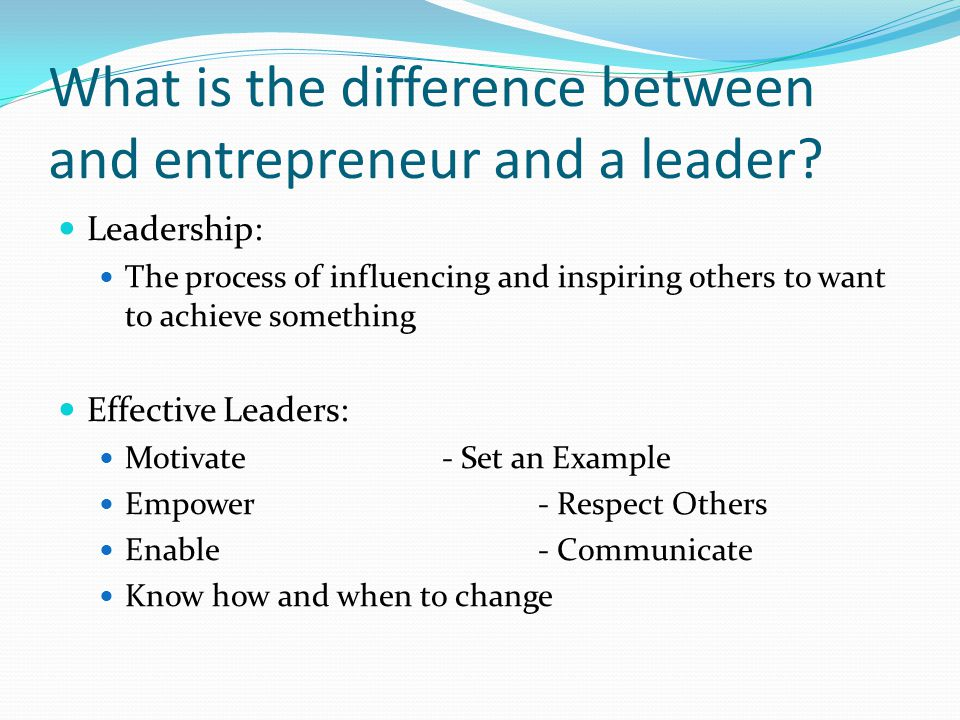 What is the difference between and entrepreneur and a leader.