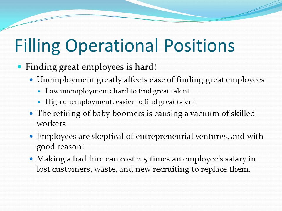 Filling Operational Positions Finding great employees is hard.