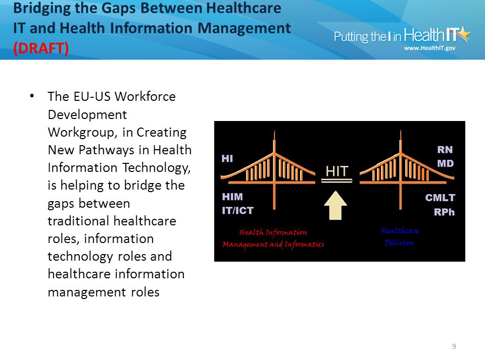 Bridging the Gaps Between Healthcare IT and Health Information Management (DRAFT) The EU-US Workforce Development Workgroup, in Creating New Pathways