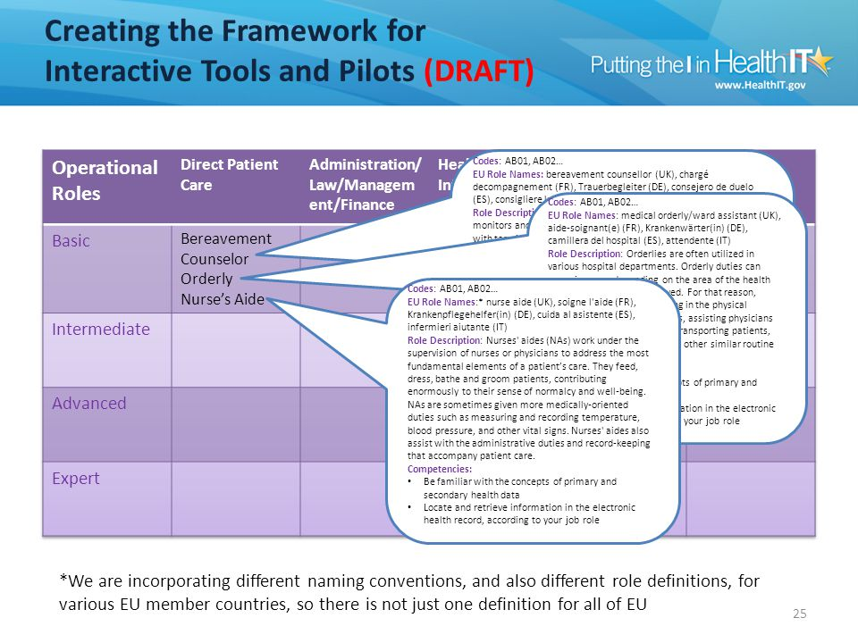 Creating the Framework for Interactive Tools and Pilots (DRAFT) 25 Codes: AB01, AB02… EU Role Names: bereavement counsellor (UK), chargé decompagnemen