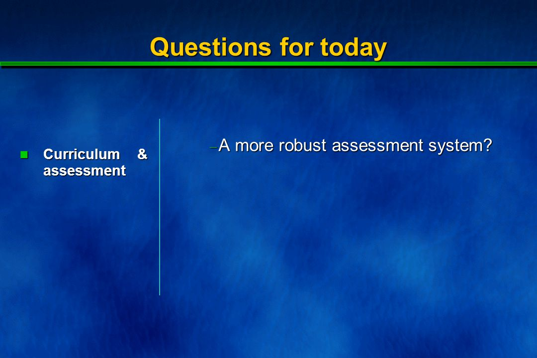 The concern: assessment has to be fundamental part of the curriculum.