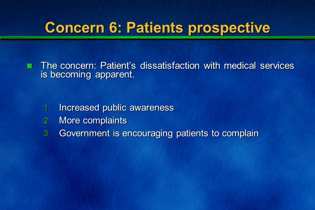 Concern 6: Patients prospective