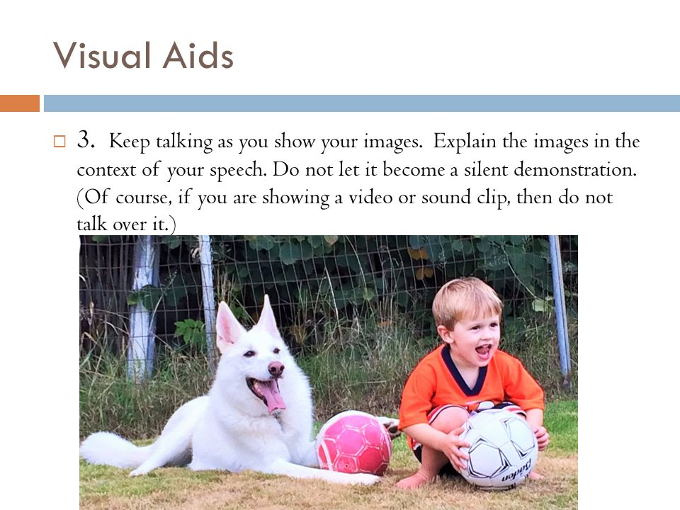 Visual Aids  3. Keep talking as you show your images.