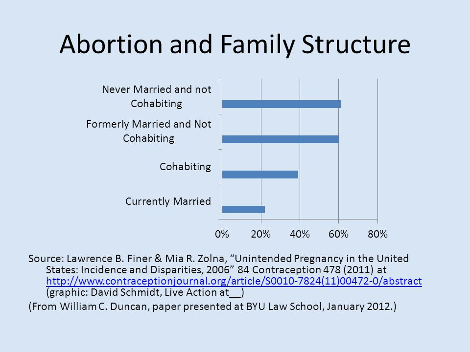 "Abortion and Family Structure Source: Lawrence B. Finer & Mia R. Zolna, ""Unintended Pregnancy in the United States: Incidence and Disparities, 2006"" 8"