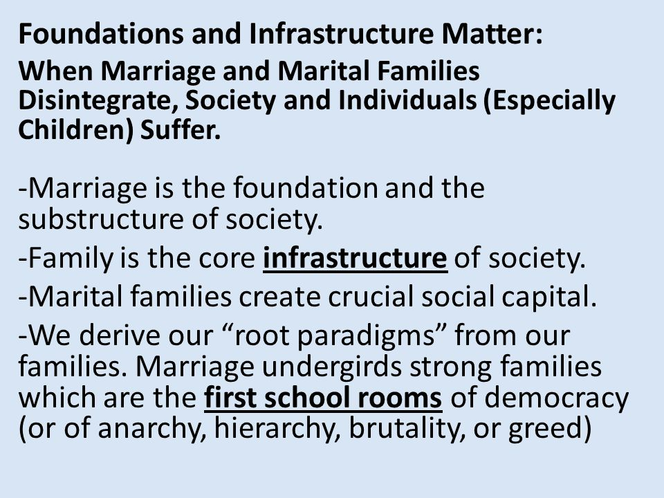 Foundations and Infrastructure Matter: When Marriage and Marital Families Disintegrate, Society and Individuals (Especially Children) Suffer.