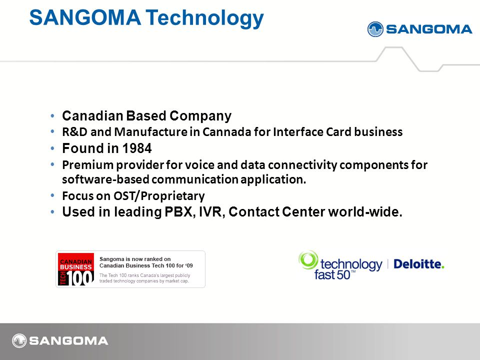 Canadian Based Company R&D and Manufacture in Cannada for Interface Card business Found in 1984 Premium provider for voice and data connectivity components for software-based communication application.
