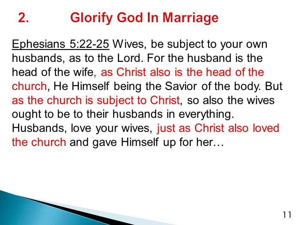 Ephesians 5:22-25 Wives, be subject to your own husbands, as to the Lord.