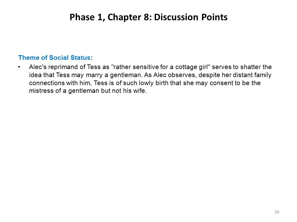 Phase 1, Chapter 8: Discussion Points Theme of Social Status: Alec's reprimand of Tess as