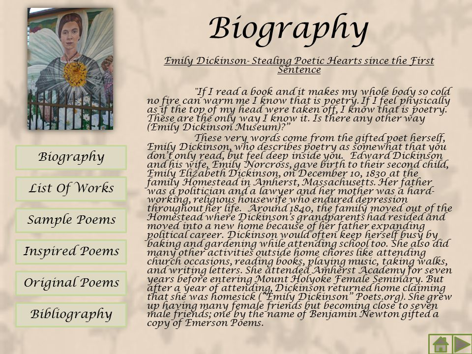 Biography Emily Dickinson- Stealing Poetic Hearts since the First Sentence