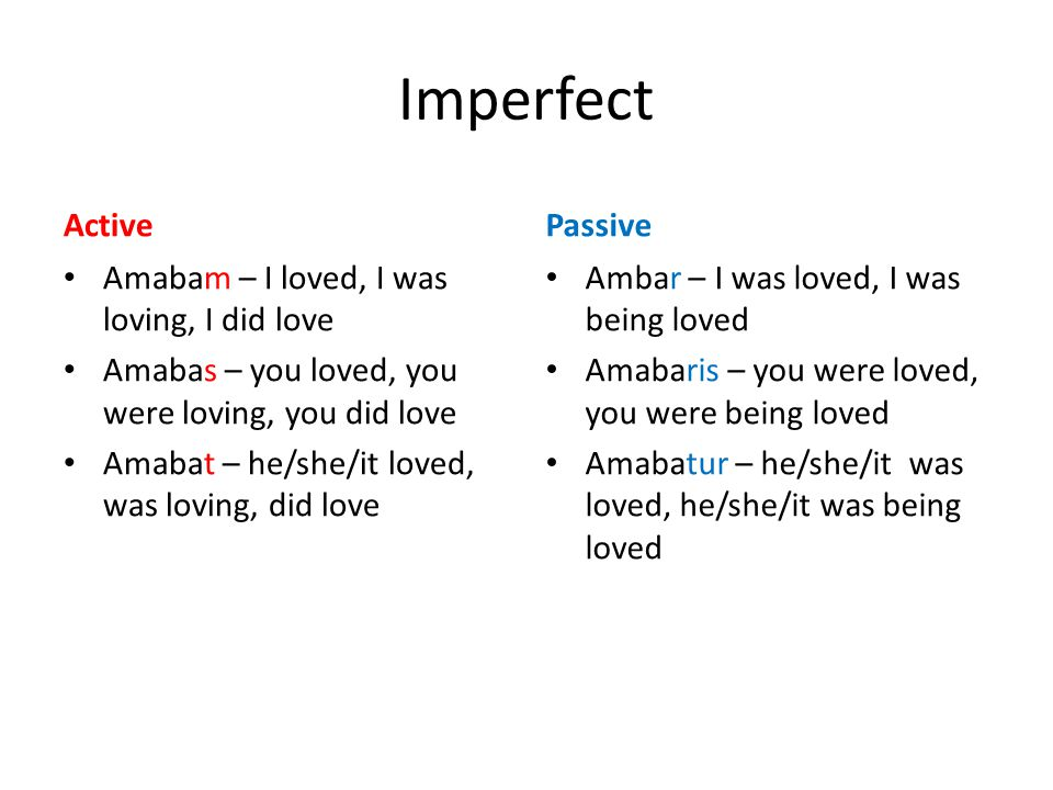 Imperfect Active Amabam – I loved, I was loving, I did love Amabas – you loved, you were loving, you did love Amabat – he/she/it loved, was loving, did love Passive Ambar – I was loved, I was being loved Amabaris – you were loved, you were being loved Amabatur – he/she/it was loved, he/she/it was being loved