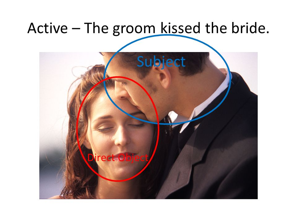 Pass– The bride is kissed by the groom. Agent Subject