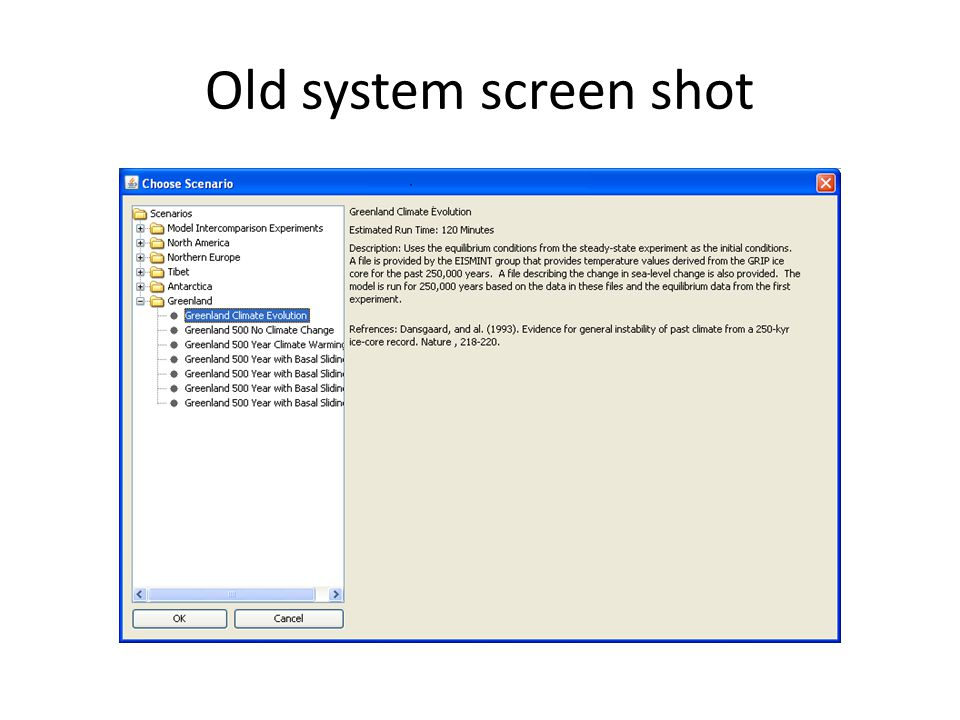 Old system screen shot