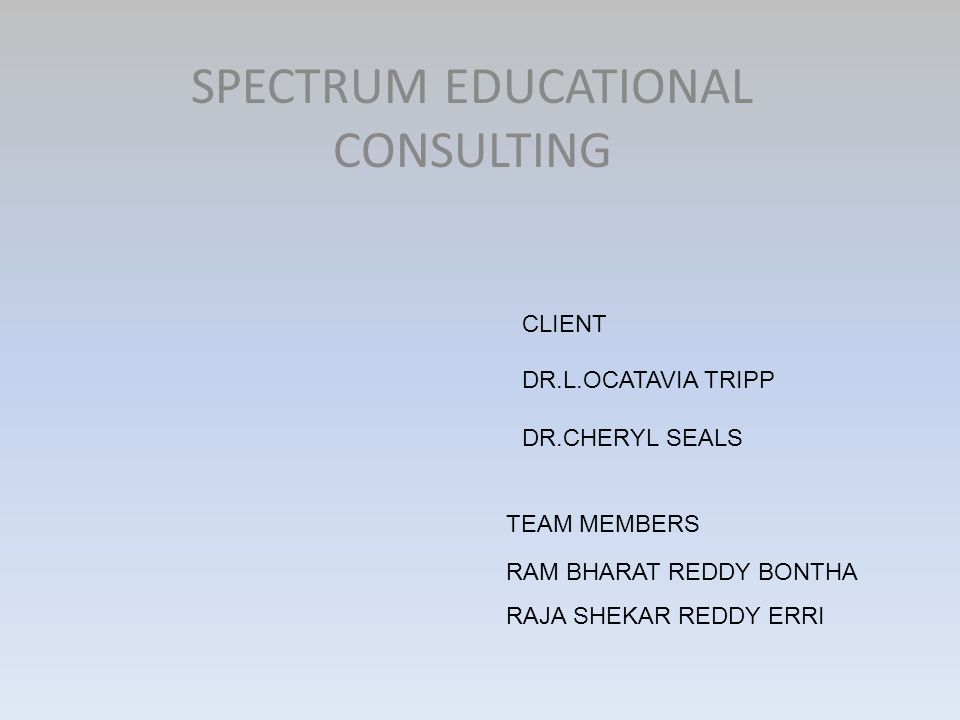 SPECTRUM EDUCATIONAL CONSULTING RAM BHARAT REDDY BONTHA RAJA SHEKAR REDDY ERRI TEAM MEMBERS CLIENT DR.L.OCATAVIA TRIPP DR.CHERYL SEALS