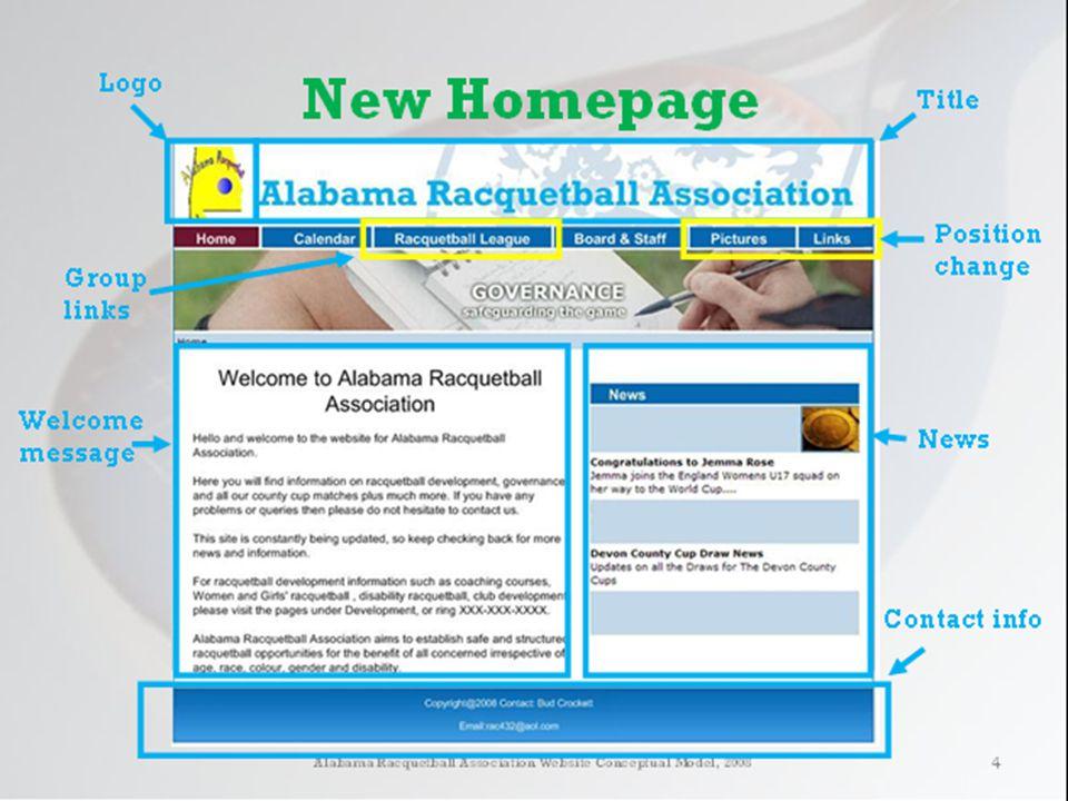 Alabama Racquetball Association Redesign DEMO