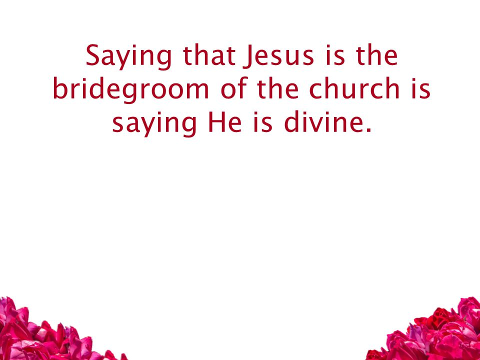 Saying that Jesus is the bridegroom of the church is saying He is divine.