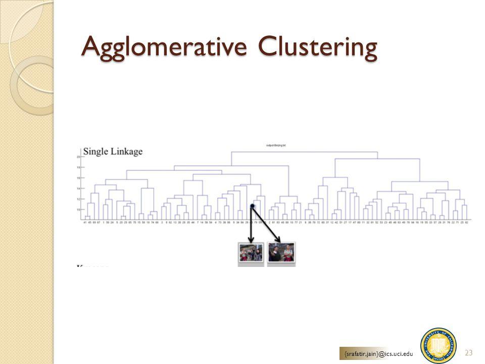 Agglomerative Clustering 23 {srafatir,jain}@ics.uci.edu