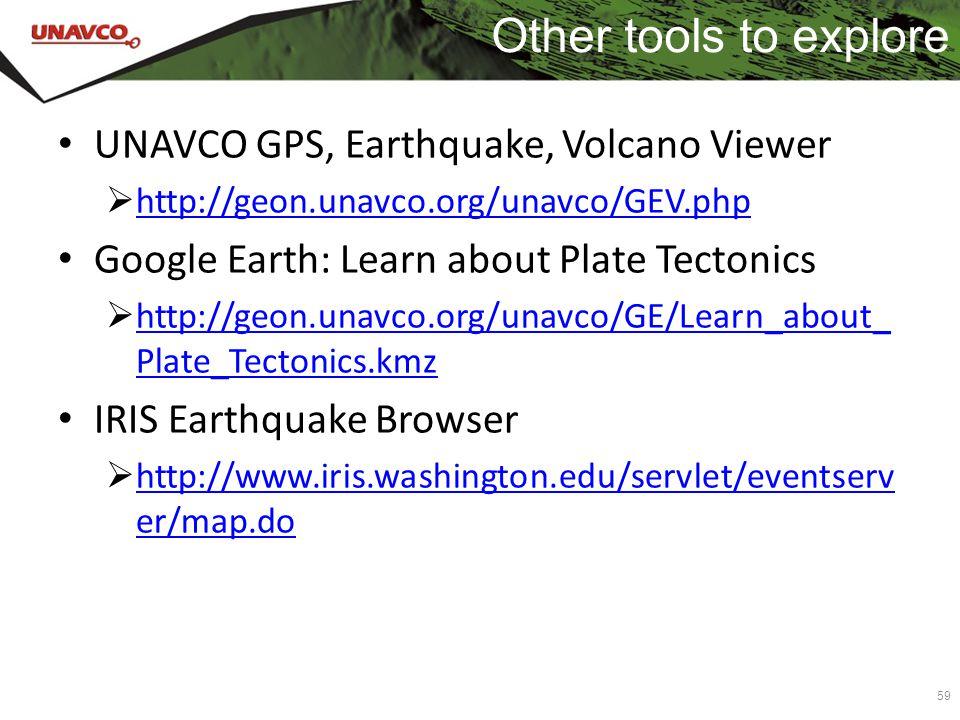 Other tools to explore UNAVCO GPS, Earthquake, Volcano Viewer  http://geon.unavco.org/unavco/GEV.php http://geon.unavco.org/unavco/GEV.php Google Ear