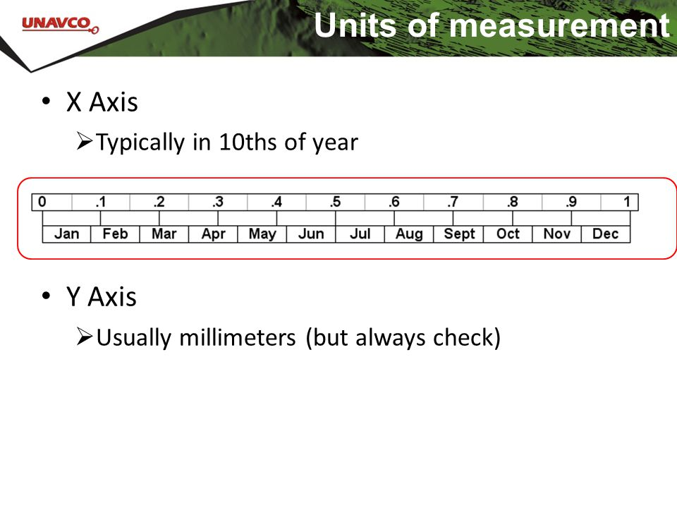 Units of measurement X Axis  Typically in 10ths of year Y Axis  Usually millimeters (but always check)