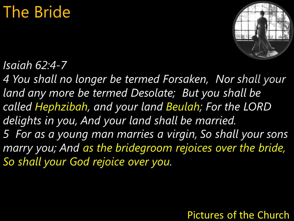 Isaiah 62:4-7 HephzibahBeulah 4 You shall no longer be termed Forsaken, Nor shall your land any more be termed Desolate; But you shall be called Hephzibah, and your land Beulah; For the LORD delights in you, And your land shall be married.