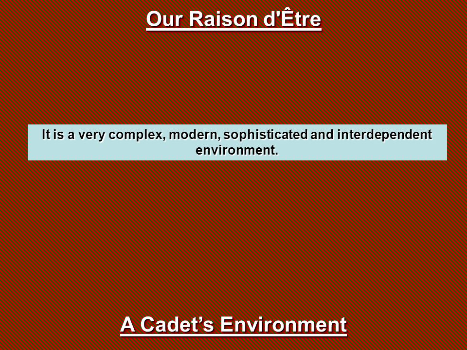 Our Raison d'Être It is a very complex, modern, sophisticated and interdependent environment. A Cadet's Environment